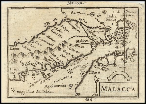 81-Singapore and Malaysia Map By Petrus Bertius