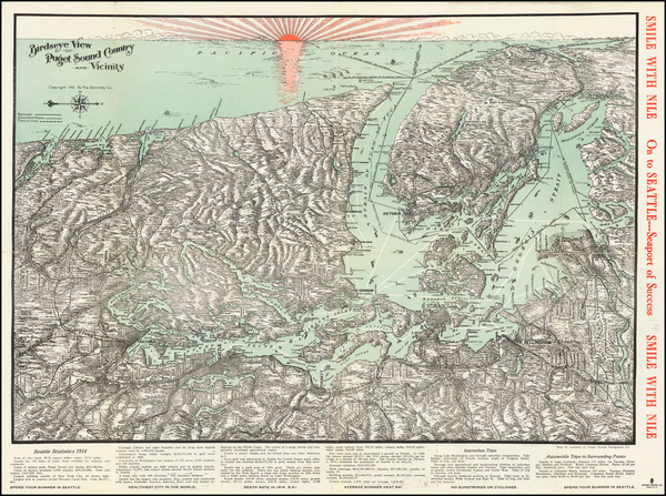 39-Washington and Canada Map By Puget Sound Navigation Company
