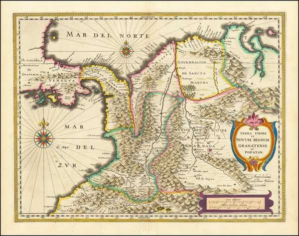 53-Colombia Map By Willem Janszoon Blaeu