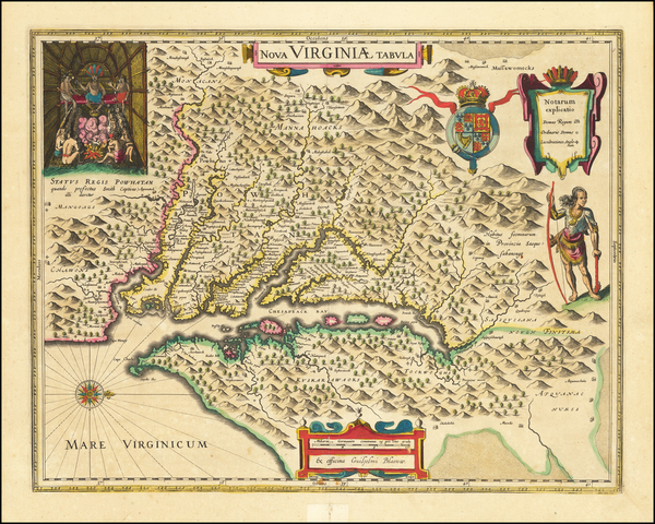 71-Mid-Atlantic, Southeast and Virginia Map By Willem Janszoon Blaeu