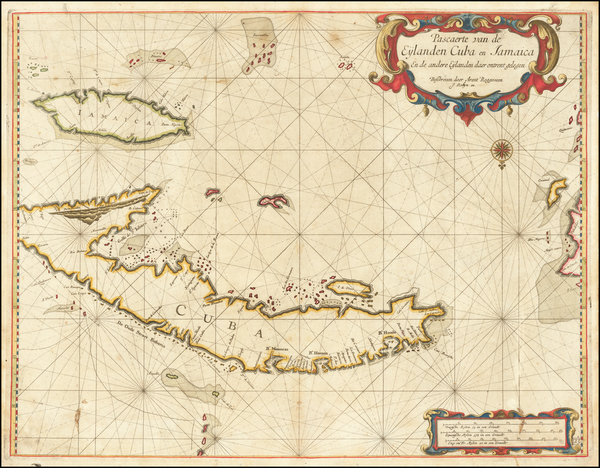 30-Cuba, Jamaica and Other Islands Map By Arent Roggeveen / Jacobus Robijn