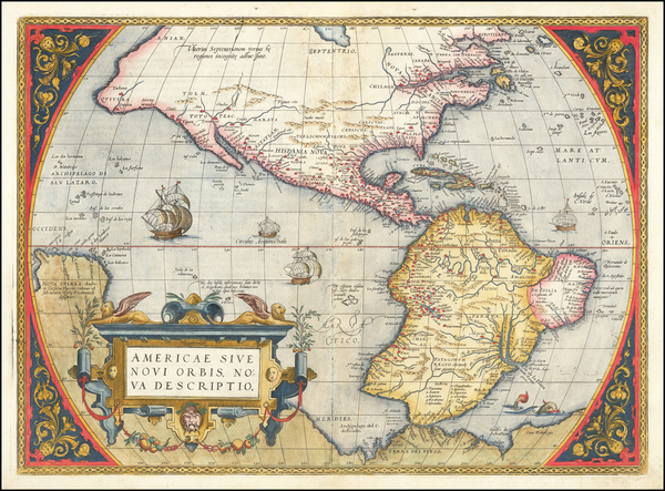 90-Western Hemisphere, South America and America Map By Abraham Ortelius