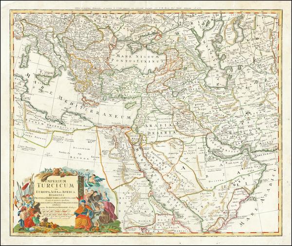 55-Turkey, Middle East and Turkey & Asia Minor Map By Johann Baptist Homann