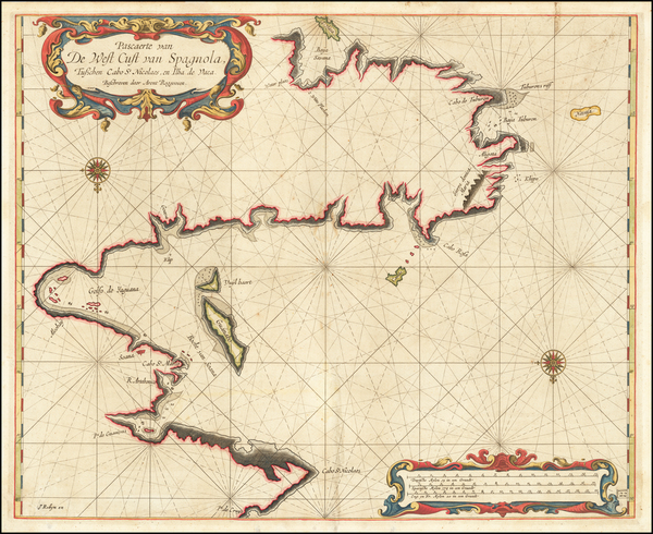 71-Hispaniola Map By Arent Roggeveen / Jacobus Robijn