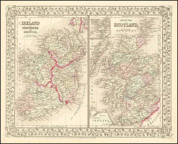 47-Scotland and Ireland Map By Samuel Augustus Mitchell Jr.