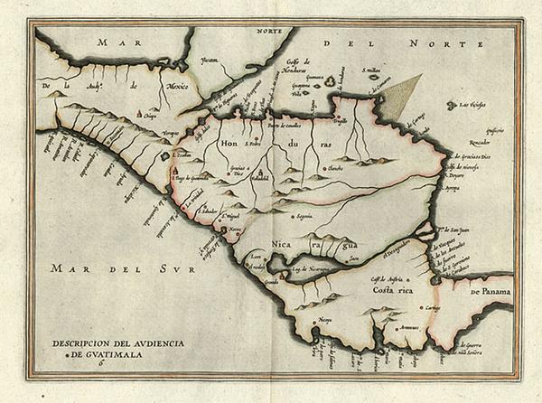 84-Mexico and Central America Map By Antonio de Herrera y Tordesillas