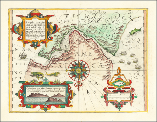 1-Polar Maps, Argentina and Chile Map By Gerard Mercator