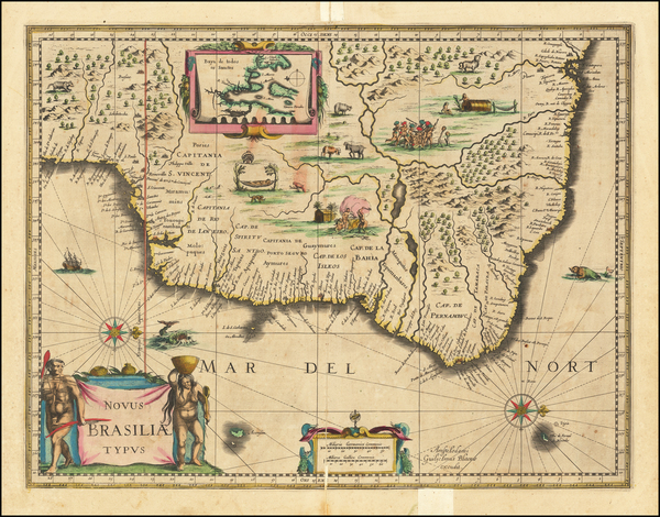 85-Brazil Map By Willem Janszoon Blaeu