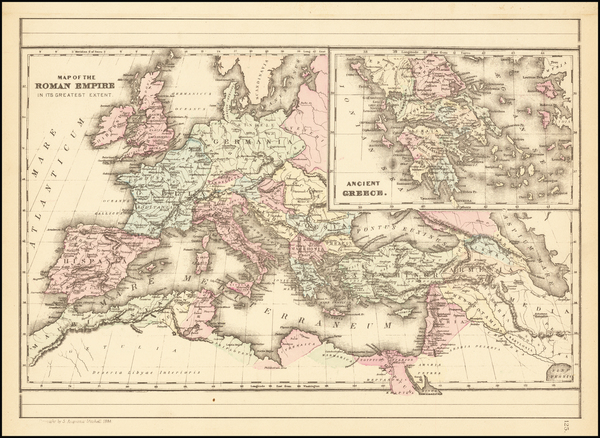 7-Europe, Italy, Greece and Mediterranean Map By Samuel Augustus Mitchell