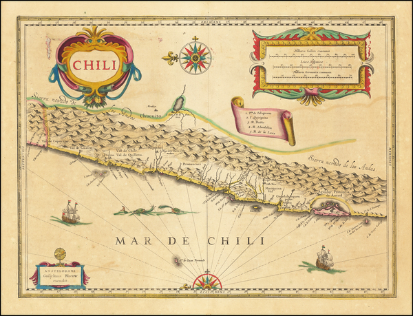 39-Chile Map By Willem Janszoon Blaeu
