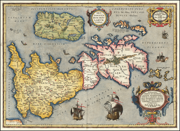 21-British Isles Map By Abraham Ortelius