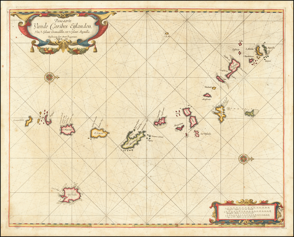 4-Caribbean and Other Islands Map By Arent Roggeveen / Jacobus Robijn