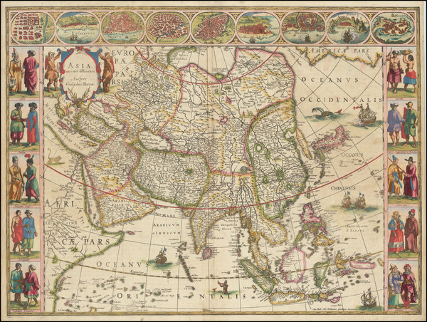 63-Asia Map By Willem Janszoon Blaeu
