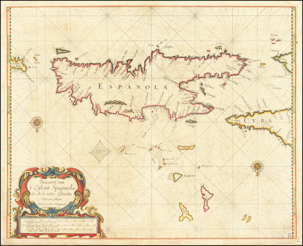 57-Cuba and Hispaniola Map By Arent Roggeveen / Jacobus Robijn