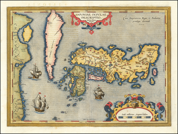 12-Japan and Korea Map By Abraham Ortelius
