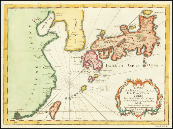 54-China, Japan and Korea Map By Jacques Nicolas Bellin