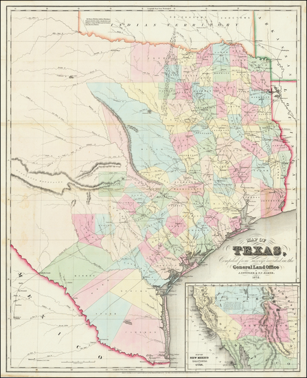 38-Texas Map By J. Eppinger  &  Francis C. Baker