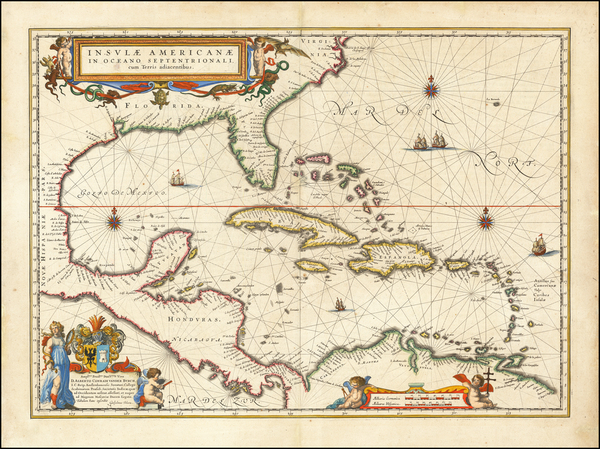 79-Florida, South, Southeast, Caribbean and Central America Map By Willem Janszoon Blaeu