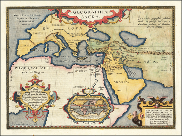 97-World, Europe, Middle East and Africa Map By Abraham Ortelius
