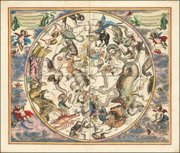 74-Celestial Maps Map By Andreas Cellarius