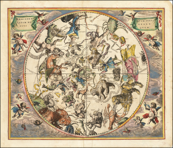 8-Celestial Maps Map By Andreas Cellarius