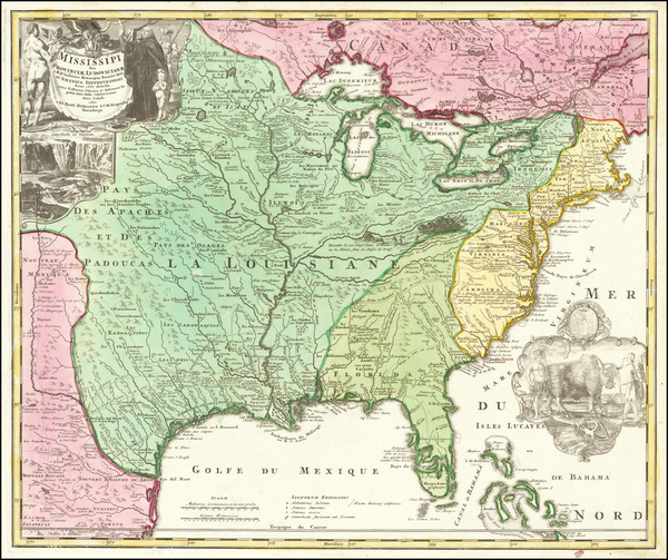 56-United States, South, Southeast, Texas, Midwest, Plains and Southwest Map By Johann Baptist Hom