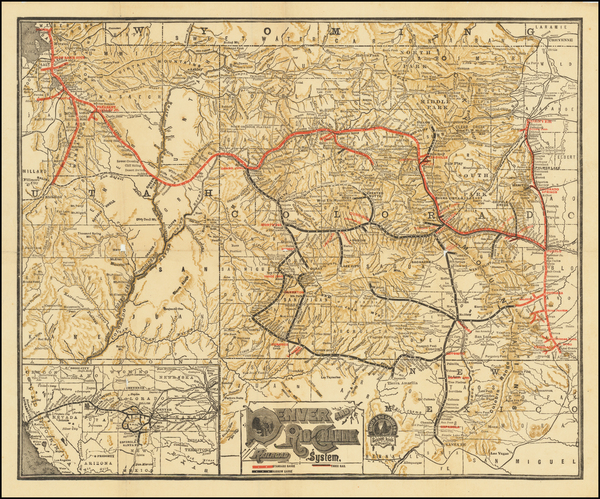 85-Colorado, Rocky Mountains and Colorado Map By Denver & Rio Grande RR