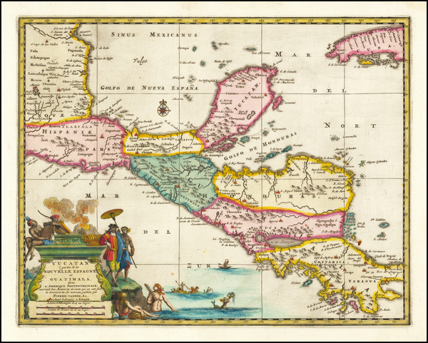 58-Mexico, Caribbean and Central America Map By Pieter van der Aa