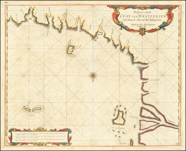 82-Central America Map By Arent Roggeveen / Jacobus Robijn