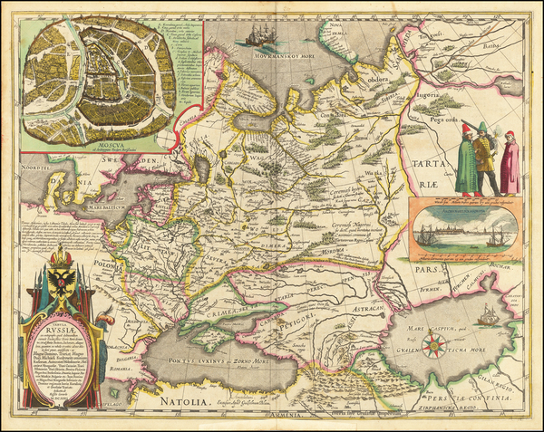 70-Poland, Russia, Ukraine, Baltic Countries and Russia in Asia Map By Willem Janszoon Blaeu