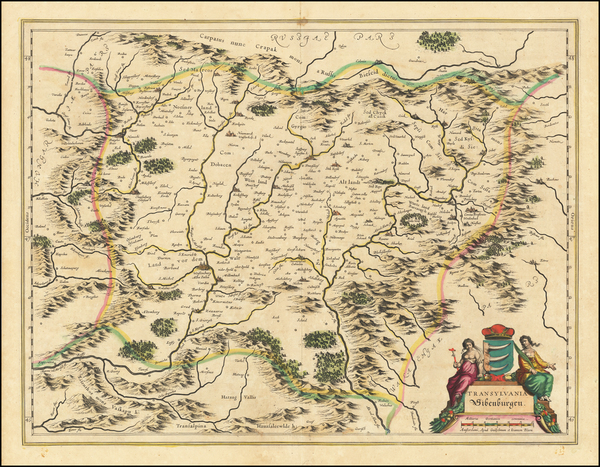 82-Romania Map By Willem Janszoon Blaeu