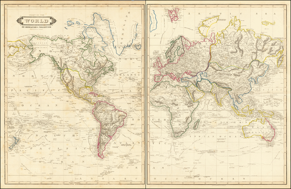 92-World Map By William Home Lizars