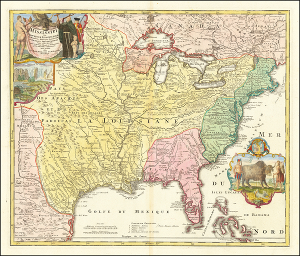 55-United States, South, Southeast, Texas, Midwest, Plains and Southwest Map By Johann Baptist Hom