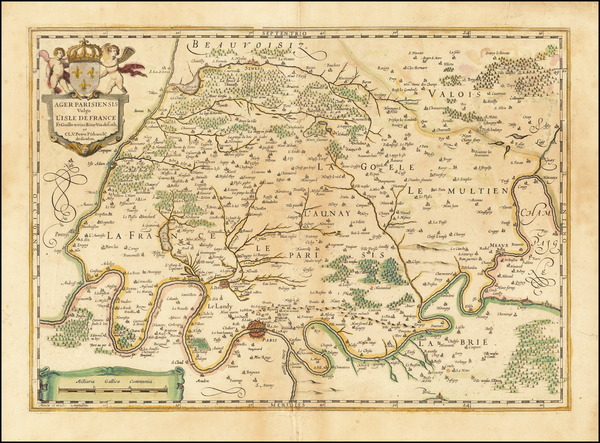 16-France and Paris Map By Willem Janszoon Blaeu