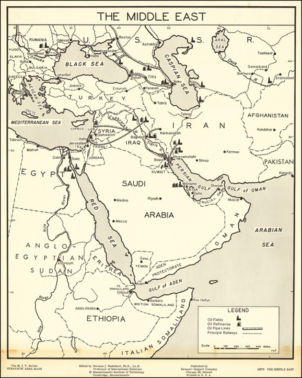 55-Middle East and Arabian Peninsula Map By Norman J. Padelford