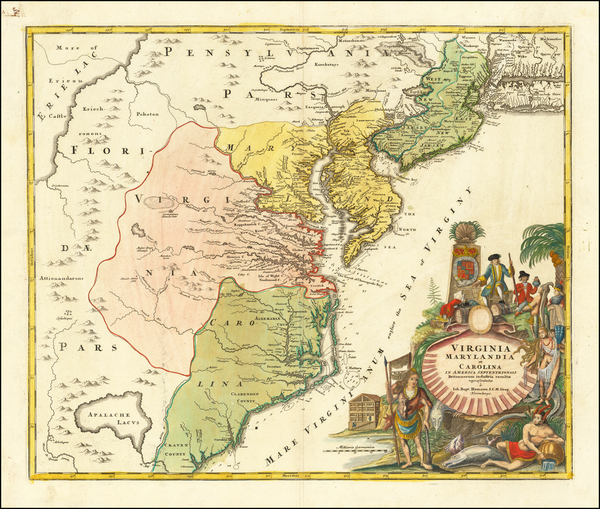 17-Mid-Atlantic, Maryland, Delaware, Southeast and Virginia Map By Johann Baptist Homann
