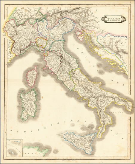 18-Italy Map By William Home Lizars