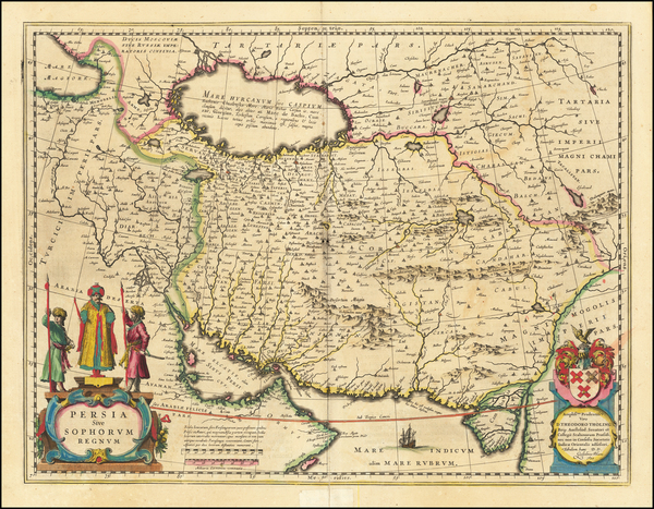 7-Asia, Central Asia & Caucasus and Middle East Map By Willem Janszoon Blaeu