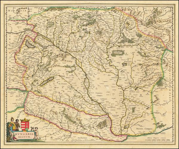 70-Hungary Map By Willem Janszoon Blaeu / Johannes Blaeu