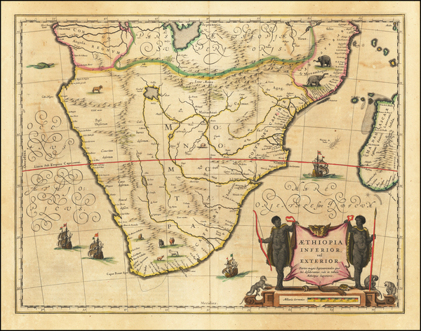 46-South Africa and African Islands, including Madagascar Map By Willem Janszoon Blaeu