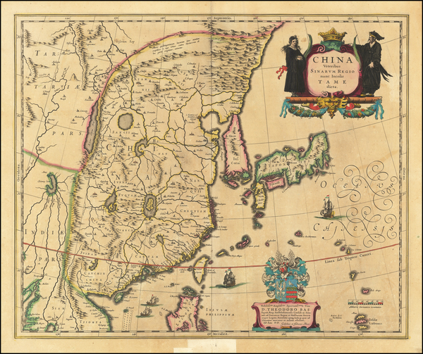 34-China and Korea Map By Willem Janszoon Blaeu
