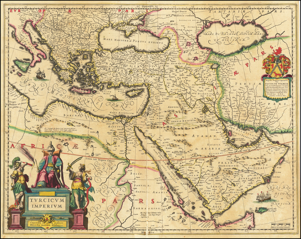 38-Turkey, Mediterranean, Balearic Islands, Middle East and Turkey & Asia Minor Map By Willem