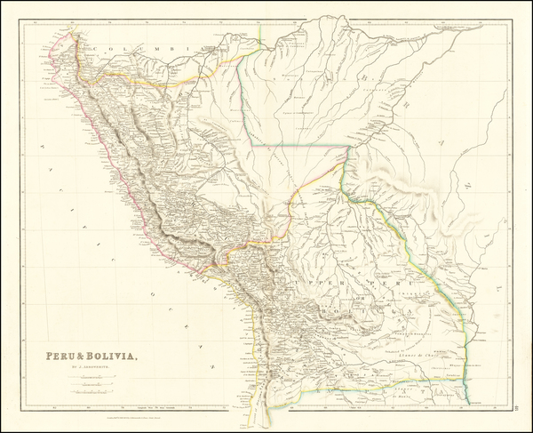 50-Paraguay & Bolivia and Peru & Ecuador Map By John Arrowsmith