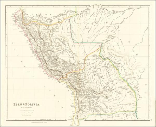 68-Paraguay & Bolivia and Peru & Ecuador Map By John Arrowsmith