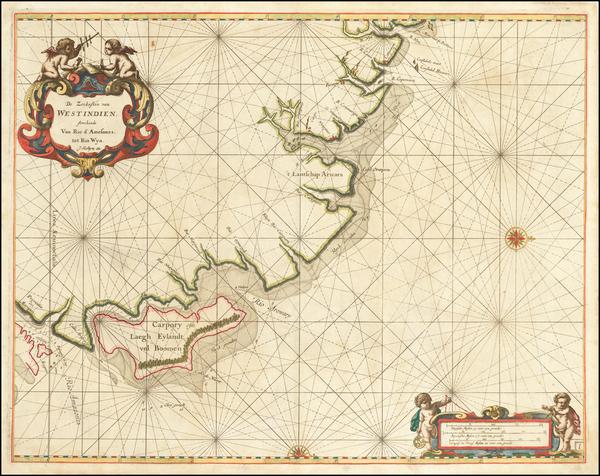 29-Brazil Map By Arent Roggeveen / Jacobus Robijn
