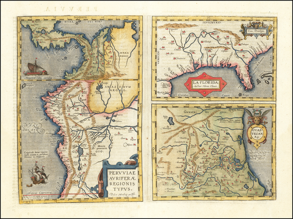 49-Florida, South, Southeast and Central America Map By Abraham Ortelius