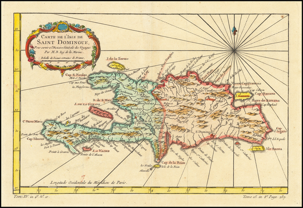 58-Hispaniola Map By Jacques Nicolas Bellin