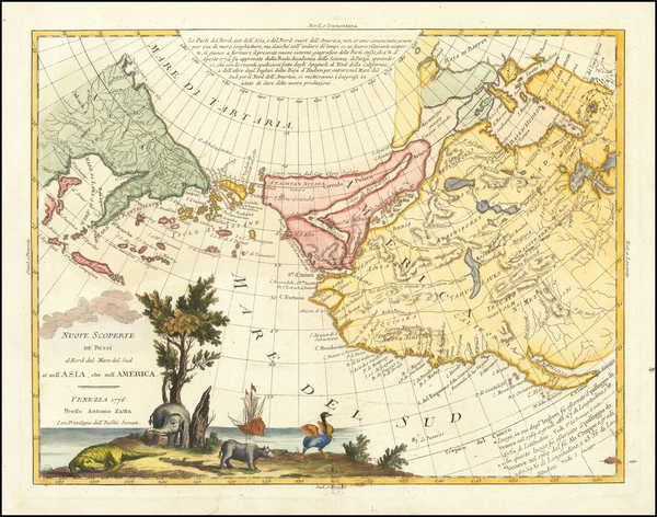 11-Rocky Mountains, Alaska, North America, Canada, Pacific and California Map By Antonio Zatta