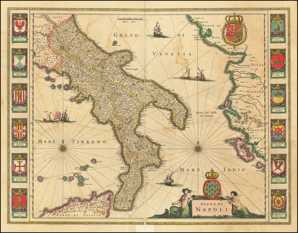 56-Southern Italy Map By Willem Janszoon Blaeu