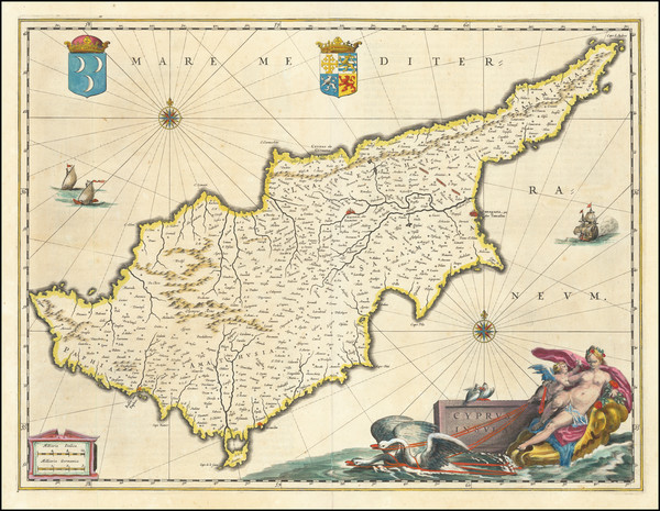 3-Cyprus Map By Willem Janszoon Blaeu